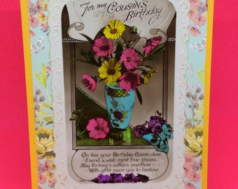Vintage cousin's birthday embossed greetings postcard upcycled - handmade, yellow, folding Birthday greetings card