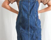 vintage denim pinafore overall dress with star distressing