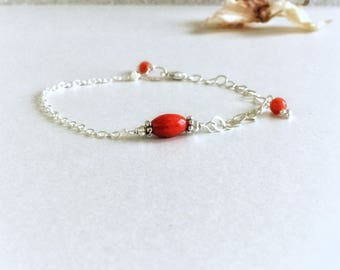 Italian coral bracelet,sterling silver bracelet,real genuine coral bracelet,coral jewelry,authentic coral bracelet,gift for her