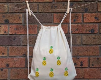 Wise Pineapple - Drawstring backpack, lightweight backpack, eco friendly daypack bag