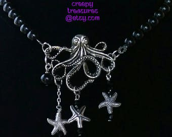 Octopus  Necklace.  Silver plated. Hand beaded. One of a kind. Customized for you. Mermaids. Sirens