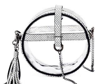 Circle Clear Handbag- Metallic Mermaid