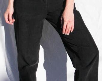 "Vintage High-Rise Black Corduroy Trouser Pants w/ Pleating & Adjustable Buckle Straps- 24"" Waist"