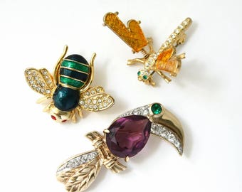 Insect Brooch Lot , Bee , Bird , Dragonfly , Repurpose Jewelry Lot