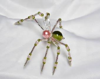 Cute Pink and Green Beaded Spider