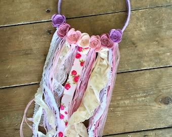 Embroidery Hoop, Hoop Art, Hanging Decoration, Dreamcatcher, Dream Catcher, Wool,Pinks,Purples, Felt Flowers, Felt Roses, Home Decor, Girls