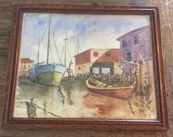 Vintage Original Watercolor Boat Painting Framed | Sailboat Painting | Watercolor Boats | Boat Painting | Nautical Painting | Ship  Painting