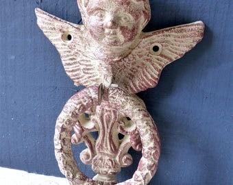 Old door KNOCKER striking door decor shabby chic Cherub Angel