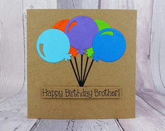 Personalised birthday card, Happy Birthday card, Birthday balloons card, Birthday card with name, Card for brother, Card for husband / Son