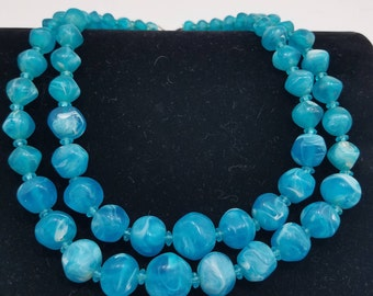 Beautiful Molded Marble Blue Beaded Necklace with Two Strands