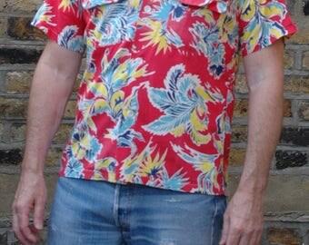 Vintage 1950s Arrow sanforized Hawaiian Shirt, s/m