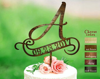 a cake topper, cake toppers for wedding, letter wedding cake topper, initial cake topper, cake topper a, a monogram, rustic cake top, CT#154
