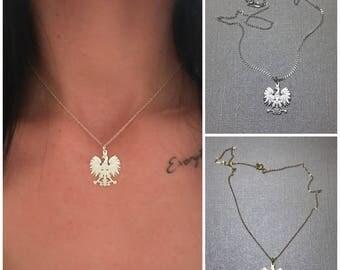 Polish eagle etsy sterling silver polish eagle necklace polish emblem silver gold eagle mozeypictures Images