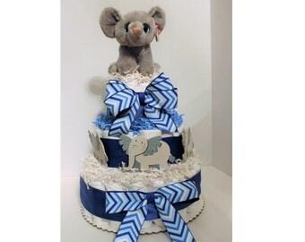 Baby Boy Diaper Cake   Blue   Elephant   Customize