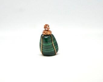 Malachite and copper pendant