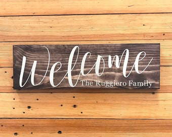 Welcome Name Sign, Personalized Welcome Sign, Wood Welcome Sign, Rustic Welcome Sign, Wooden Welcome Sign, Rustic Welcome Sign Home