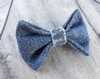Clip-On Denim Bowtie