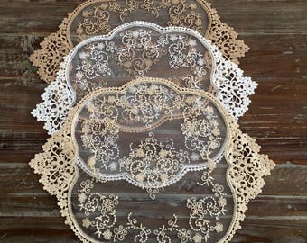 """Lace runner 12""""x 16"""" %100 cotton"""