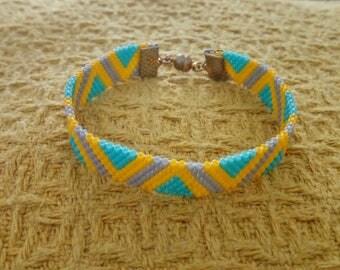 Peyote bracelet yellow turquoise and grey