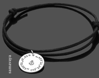Men's bracelet anchor anchor 925 silver bracelet coordinates leather necklace men's Jewelry