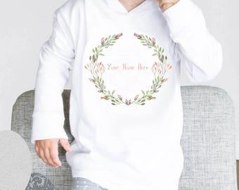 Rosebud baby Hoodie - personalised hoodie, toddler top, new baby, baby shower gift, hooded top, rose wreath, baby top, girls hoodie, flower