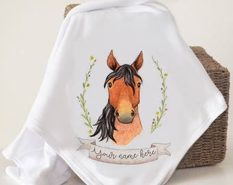 Watercolour Horse baby blanket - personalised baby shawl, baby shower gift country, farm animal, newborn, new baby, nursery, cot, comfort