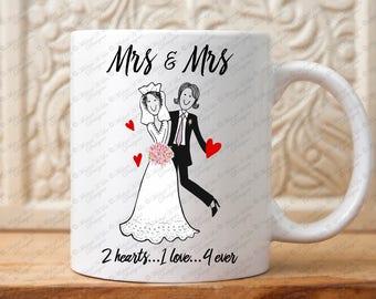 Mrs and Mrs Mug Set : Couples Gift Lesbian Wedding Gift Gay