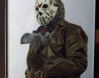 Friday the 13th fan art, Jason Vorhees, Portrait, print, art print, wall art, decor, horror movie art, fan art, 5x7,
