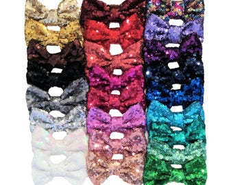 "Large Sequin Bows ~ 4""- 4.5"" Sequin Bows ~ Sparkly Bows"
