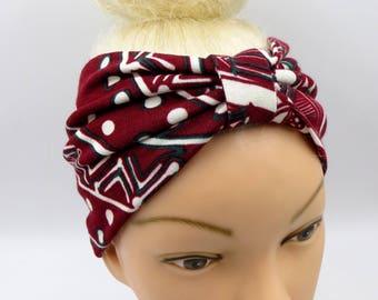 African print headband tribal headband turban burgundy ethnic headband turband headband yoga ethnic print headwrap wide headband africa