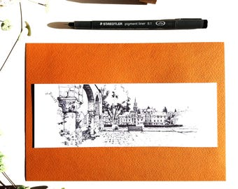 Le Mans, bookmark houses ink drawing, landscape urban France, map postcard city black and white Illustration, drawing ink