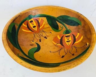Hand Painted Primitive Wood Bowl
