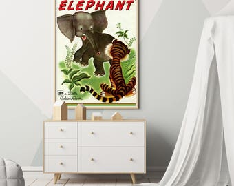 """Saggy Baggy Elephant Children's Book POSTER! (24""""x36"""" or smaller) - Vintage 1978 Cover - Classic - Tiger - Little Golden Book - Reading"""