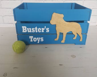 Any breed Personalised dog toy crate various colour choices. Dog toy storage. up to 3 names