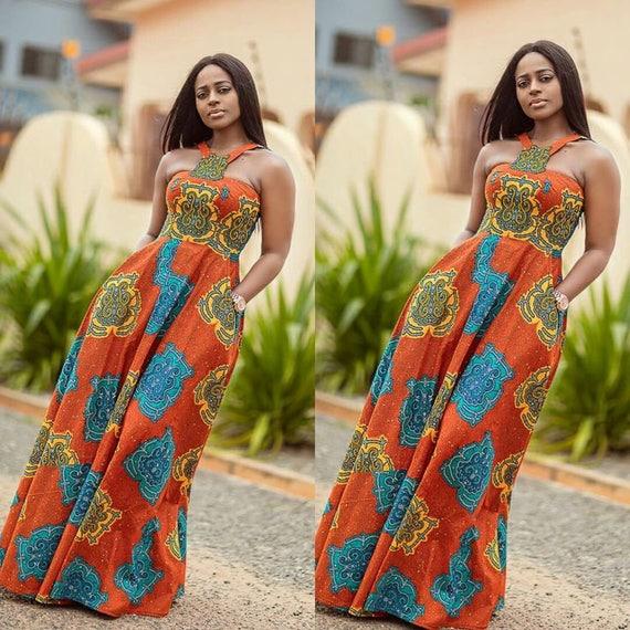 Africain impression Maxi Dress/Maxi robe/Ankara maxi/sans