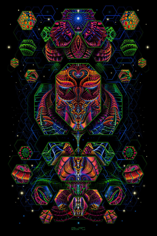 DIMENSION MATRIX Tapestry Blacklight Fluorescent Visonary Art Wall Hanging Psytrance