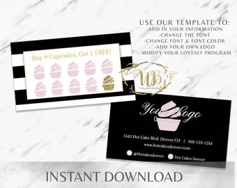 Black|Pink|Striped|Bakery Business Cards|Cupcake Business Card|Bakery Branding|Marketing|Cupcake Shop|Coffee Shop|Sweets|Loyalty|Punch