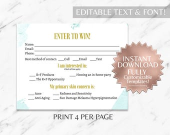 Mint Floral RF Printable Raffle Ticket and Contact Card INSTANT Template