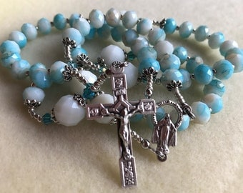 Natural Jade Faceted Gemstone Rosary in Beautiful Hues of Heaven & Earth, Italian-Made Miraculous Center and Rose Crucifix. A lovely gift!
