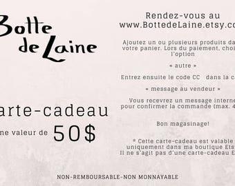 Gift-Certificate, Botte de Laine