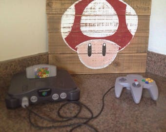 Super Mario Wooden Sign, Super Nintendo Wooden Sign, Mario Home Decor, Rustic Wooden Sign, Nerdy Wooden Sign, Nerd Gift