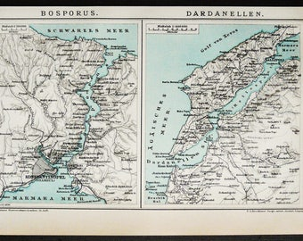 1895 Antique map of the BOSPHORUS and DARDANELLES STRAITS. Turkey. Istanbul. 123 years old town map
