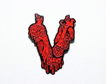 Vegan Heart Soft Enamel Pin - Ghost Vegan - 80's Horror Pin - Vegan Horror Halloween Fans