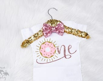 Baby Girl's First Birthday Onesie, ONE onesie, One Birthday shirt, One Birthday Bodysuit, 1st Birthday Outfit, Donut Onesie, Donut Birthday