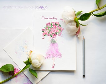 Flower blank card Printable flower card Download notecard with flowers Card to gift Purple flower card Girl with flowers card painting