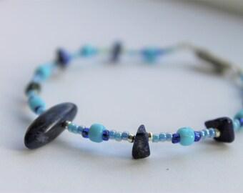 Jagged Blue Bracelet   Blue Bead Bracelet   Wired Bead Bracelet   Dark Blue Stone Bracelet   Handmade Bracelet Blue Gift Women