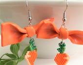 Carrot Earrings - Beaded Earring - Summer Earring - Seed Bead Earring - Summer Jewelry - Beaded Jewelry - Vegetable Earring - Carrot Earring