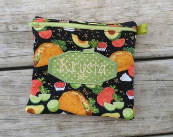 Reusable sandwich bag with zipper, Personalized Lunch Bag, Avocados, Tacos, Back to School, Fitness Gifts, Zippered Sandwich Bag, Snack Bag,