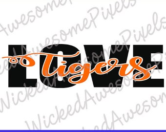Tigers svg, School Spirit svg, Tigers Love, Football svg, Tigers Cut File, School Sport svg, Tigers Iron On Transfer, Digital Download