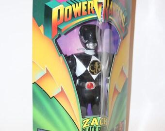 "Power Rangers Zach Action Figure 1993 Black Ranger Auto Morphin Made by Bandai 8"" Tall"